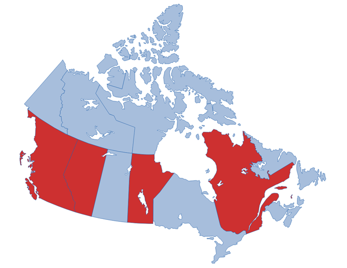 A map of Canada showing the four Provinces we are running the program in: British Columbia, Alberta, Manitoba and Quebec.